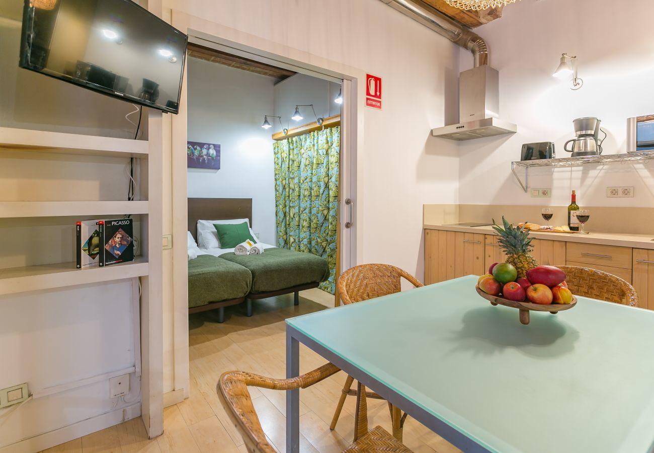 vista interna di un appartamento con 1 camera da letto a 2 minuti dalla spiaggia di Barceloneta