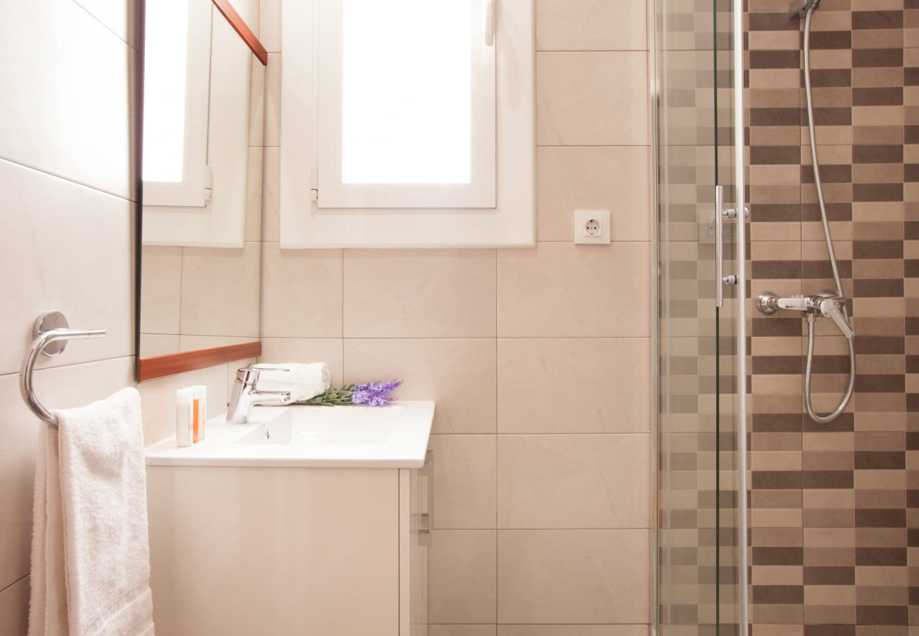 bagno dell'appartamento a Vallcarca con vista sulle montagne