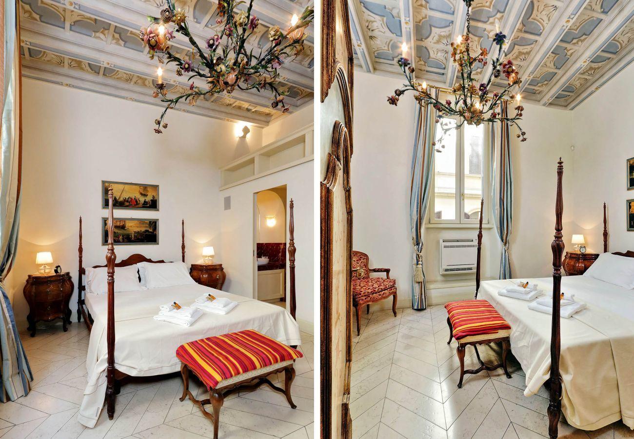 doppia foto della camera da letto