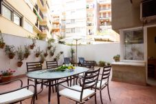 nice big terrace with furniture in Barcelona close to Plaza España