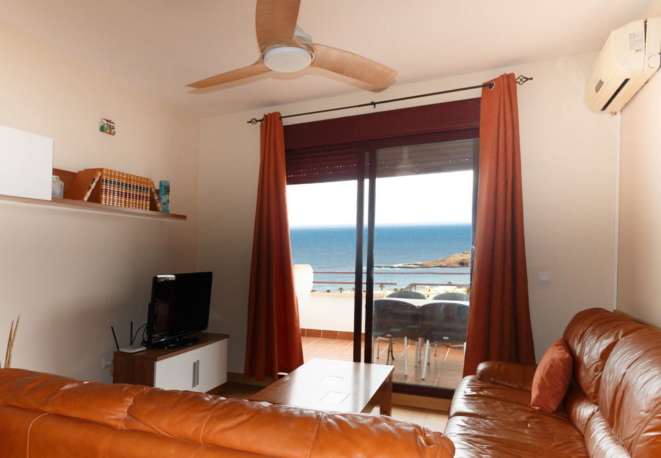 living room with sea view balcony